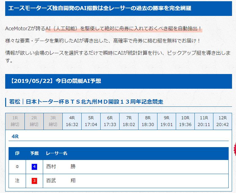 無料予想は単勝(鉄板舟券エースモーターズ)